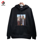 Wholesale new design custom printing men's oversized fleece hoodies cut and sew black cotton pullover hoodie