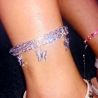 Diamond Gold And Silver Tarnish Free Pink Crystal Diamond Tennis Butterfly Anklet Bracelet For Women