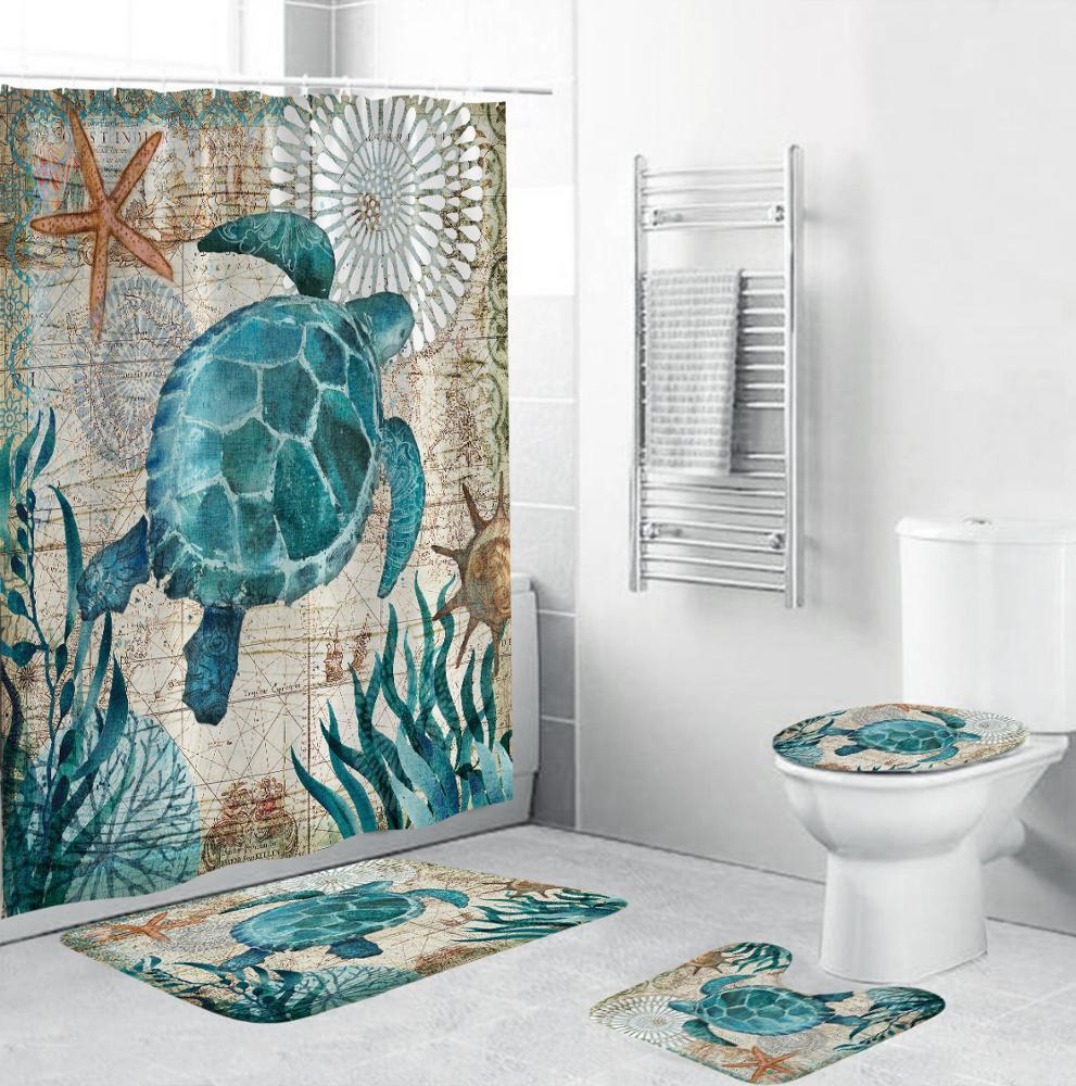 Retro Ocean Sea Turtle Toliet Mat Douche Gordijnen 4 Stuks Badkamer Matten Set Buy Schildpad Badkamer Set 4 Stuk Badmatten Set Badkamer Tapijt Gordijn Set Product On Alibaba Com