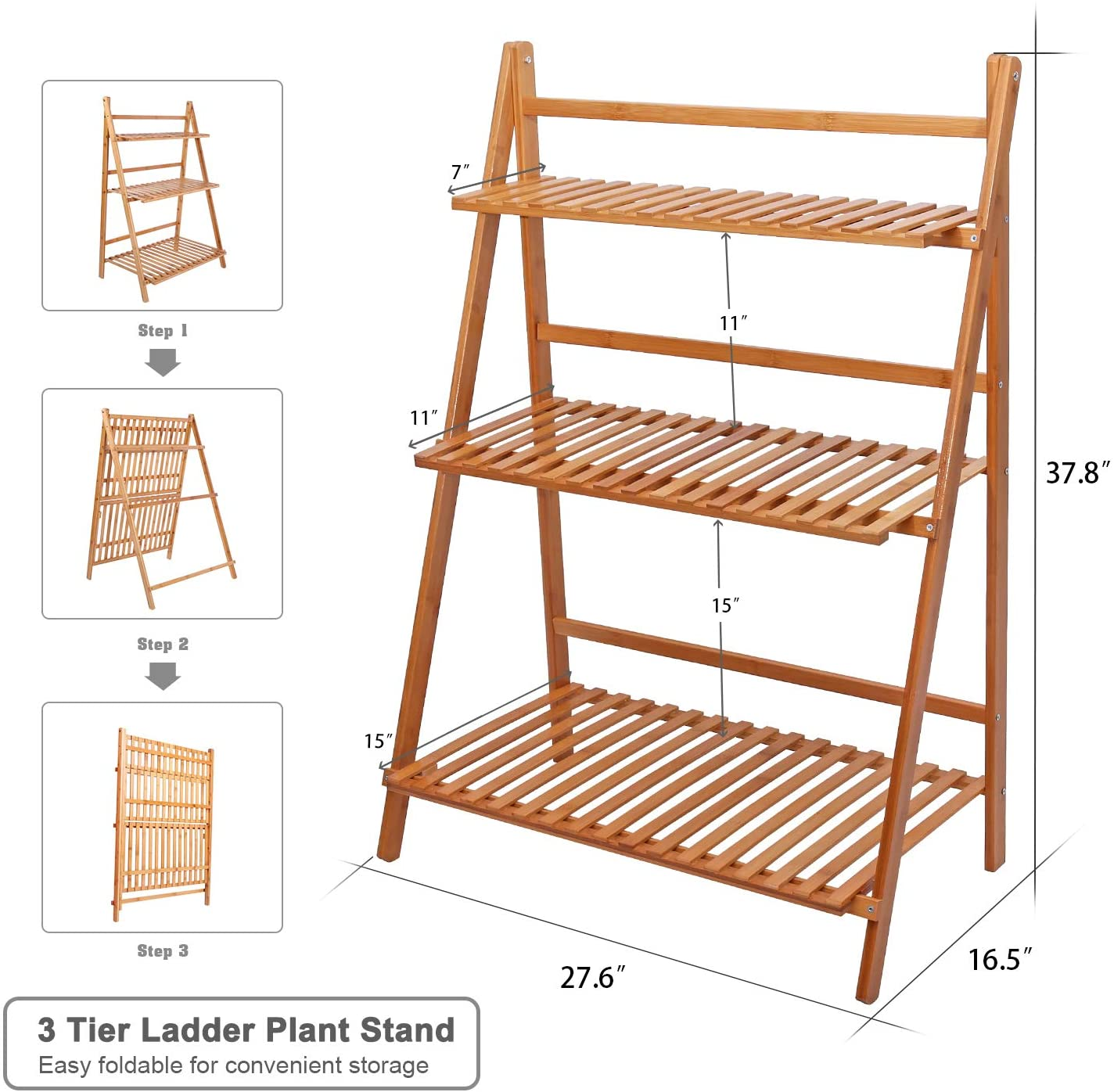 Bamboo Ladder Plant Stand 3 Tier Foldable Flower Pot Display Shelf Rack Buy Raised Garden Rack Wooden Flower Rack Wooden Plants Shelf Product On Alibaba Com