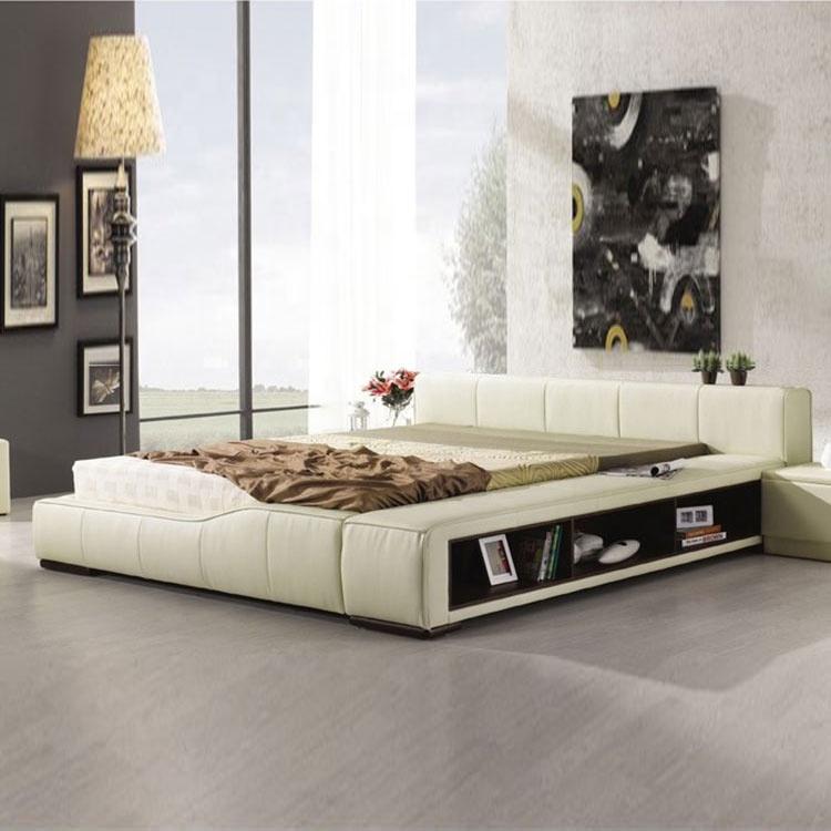 Hot selling luxury belt storage leather white rice double bed