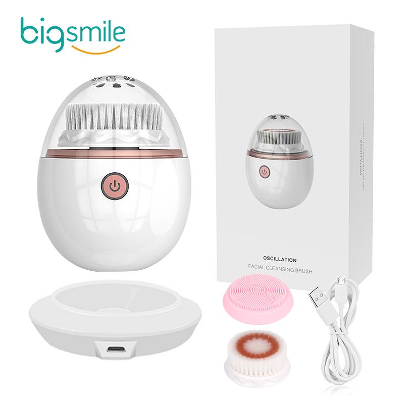 2021 Bigsmile перезаряжаемый Силиконовый водонепроницаемый звуковой электрический массажер для лица очищающая Щетка Очиститель для лица