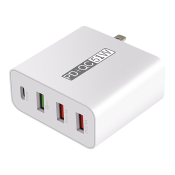 Multi Port USB Wall Charger 4 Port Fast Charging USB Power Adapter with Cable