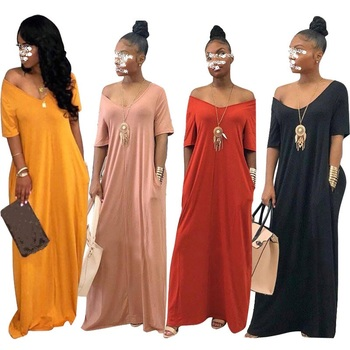 2021 Women Dress Summer Oversize Solid Color Off Shoulder Short Sleeve Maxi Dress Dresses Vestido De Mujer Elegant Fashion Xxl