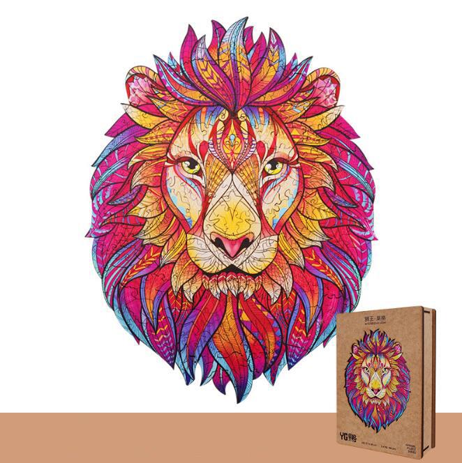 Уникальный деревянный пазл-головоломка в виде льва, лучший подарок для взрослых и детей