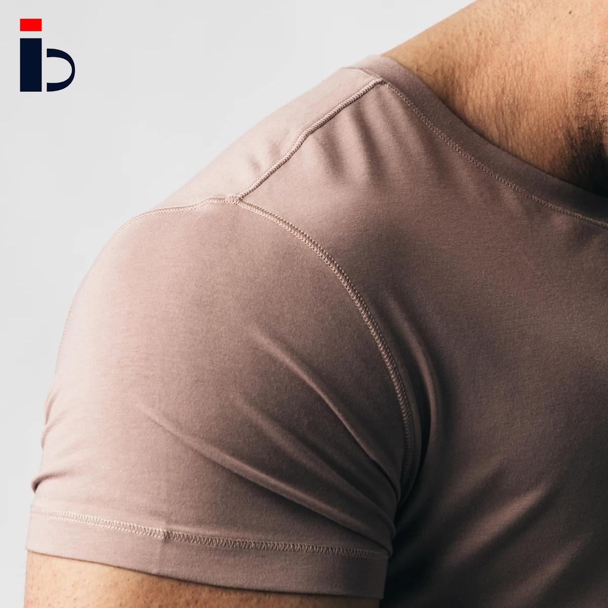 Gym fitness workout basic cotton running short sleeve crew neck t-shirt for men