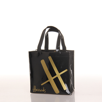 Outdoor Custom Magnetic Snap Close Black Plastic PVC Tote Shopping Bag