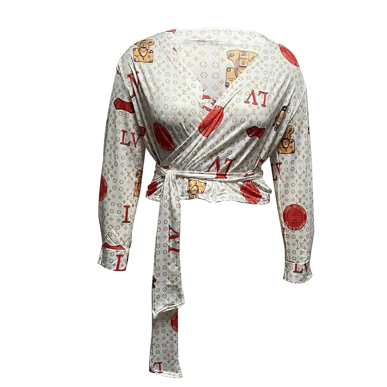 New Arrival Women Fashion Clothing V-Neck Bandage Printing Shirts For Women Blouses Ladies Tops Long Sleeve Tops