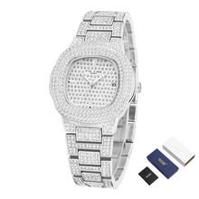 Лед-выход в виде бриллиантового украшения часы для Для мужчин Для женщин в стиле «хип-хоп» Для мужчин кварцевые часы класса люкс Нержавеюща...(Китай)