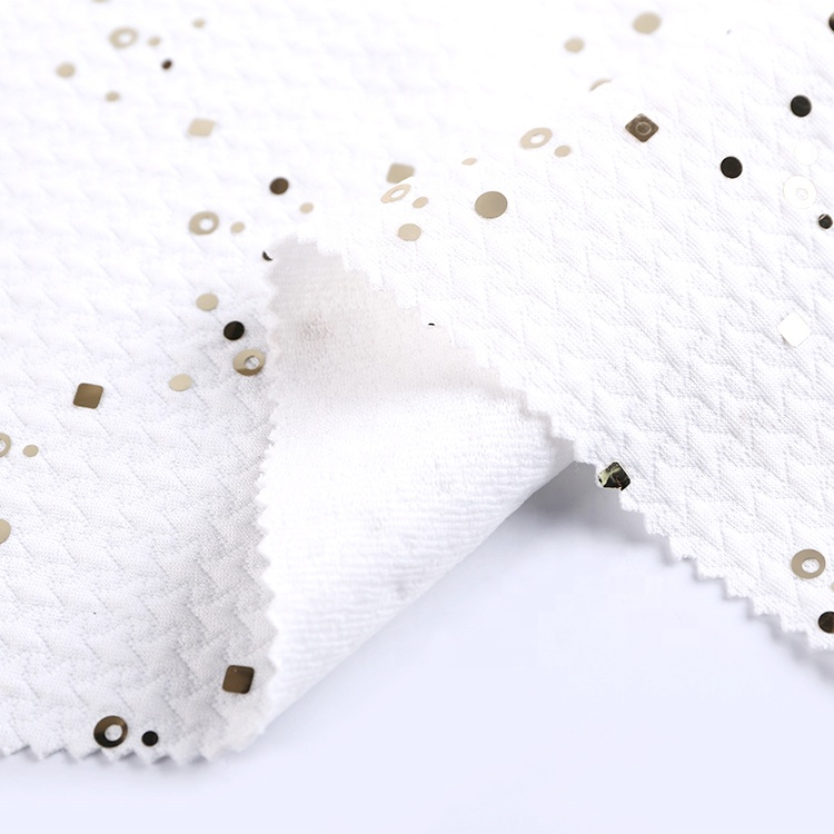 Индивидуальный 100 полиэстер Спортивный костюм толстая четверть стеганая ткань с блестками