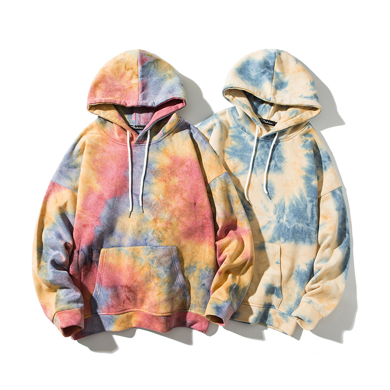 OEM High Quality Casual Fall Long Sleeve Tie Dye Hoodie Unisex Tie Dyed Men Cotton hoodies