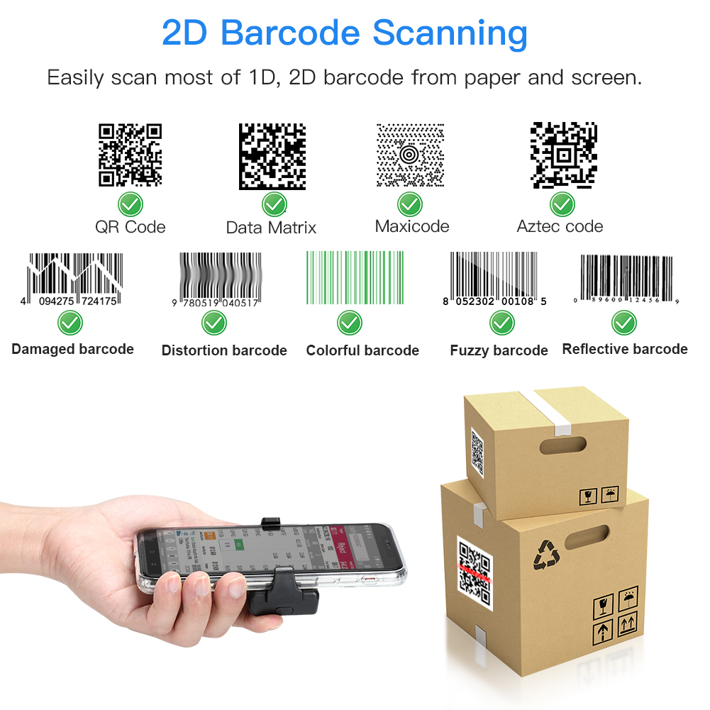 Eyoyo 2D BT Barcode Scanner Wireless, Back Clip-on Phone Bar Code Scanner with Adjustable for 1D CMOS QR PDF417 Code