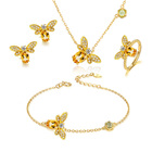 Gold Plated V R Fashion Jewelry 18K Gold Plated Cute Zircon Honey Bee Jewelry Sets