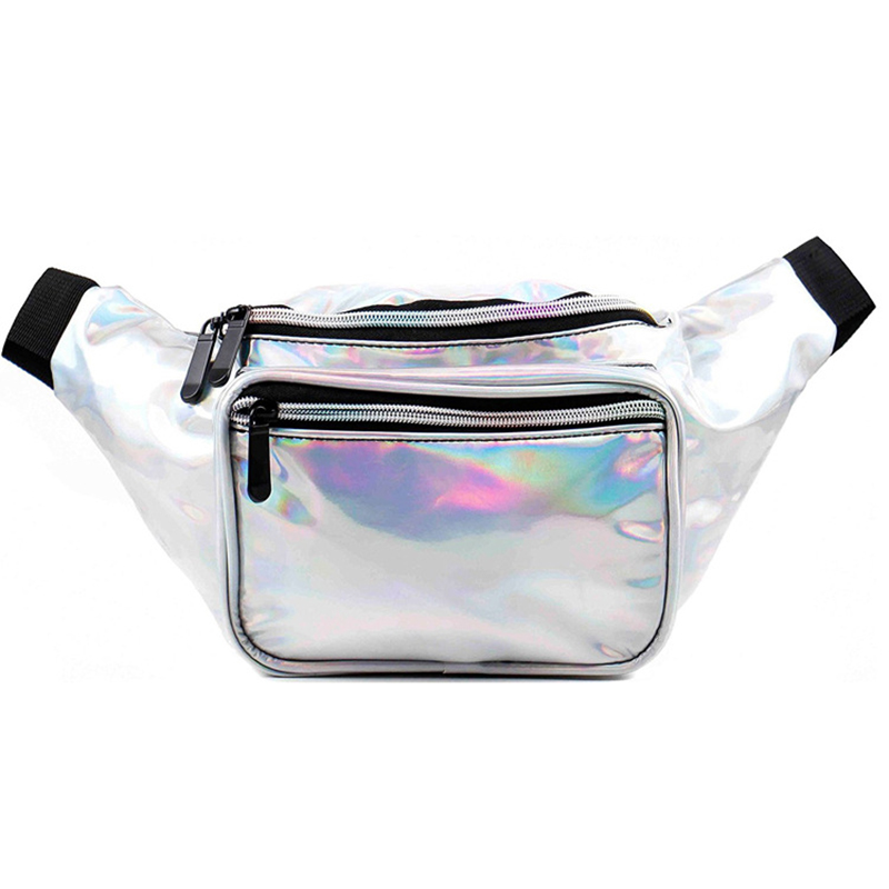 Girl fanny pack Fashion glitter waist bag Shinny Holographic Rave fanny pack leather unisex