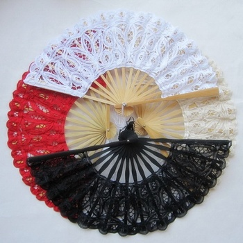 20cm Embroidery Lace Hand Fans Wedding Battenburg Cotton Fan