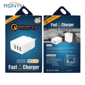 QC3.0 fast charger 3 USB for samsung Galaxy Note10 S9 S9 plus Xiaommi Sony LG mobile phone chargers