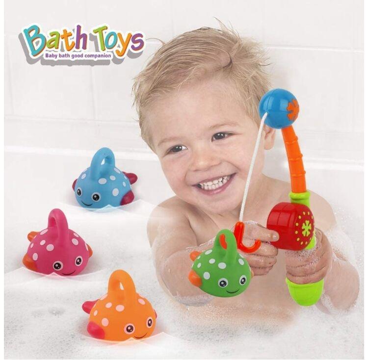 Bathroom Fish Set, Bath Toys Mold Free Fishing Games Swimming Whales BPA Free, Bath Time Bathtub Tub Toy for Toddlers