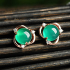 Luxury Charming Green Chalcedony Earrings Delicate Zircon Rose Gold Plated Flower Stud Earrings for Women Fashion Jewelry Gift