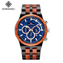 KUNHUANG многоцветные мужские часы новое поступление кварцевые мужские наручные часы с 3 циферблатами деревянный ремешок водонепроницаемые св...(Китай)
