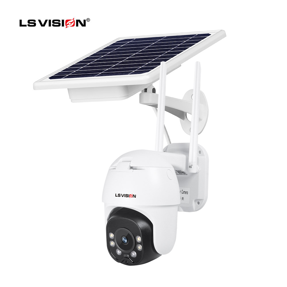 LS VISION 1080P Waterproof Outdoor 4G Wireless Human Tracking Sim Card Zoom Support Two Way Audio Solar Battery Panel Camera