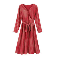 Женское платье с длинным рукавом, в стиле ретро, с треугольным вырезом и поясом, inman, весна 2020(Китай)