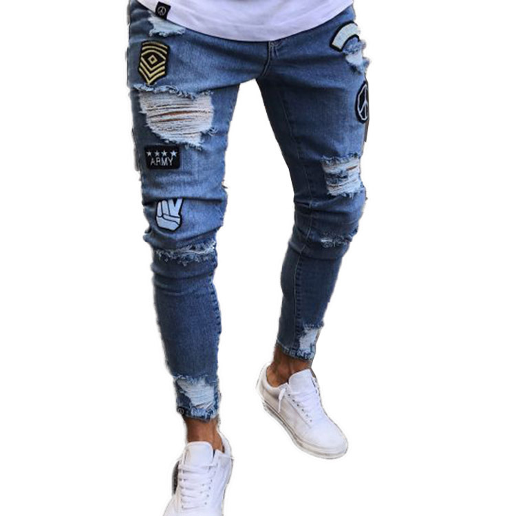 2020 Amazon Sell New Models Long Blue Black Jogger Trousers Men S Denim Pants Embroidered Skinny Ripped Jeans Male In China Buy Jeans Male Skinny Ripped Jeans Blue Jeans Black Jeans 2020 Amazon Sell