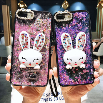 Diamond rhinestone phone case with cute rabbit design phone Cases with mirror