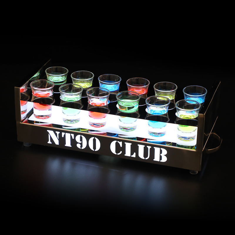 Custom Stainless Steel Shot Glass Tray 6/12 Holes LED Lighting Cup Wine Holder Trays