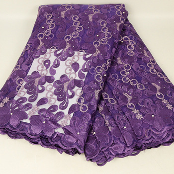 african bridal quilting purple hand embroidery lace fabric