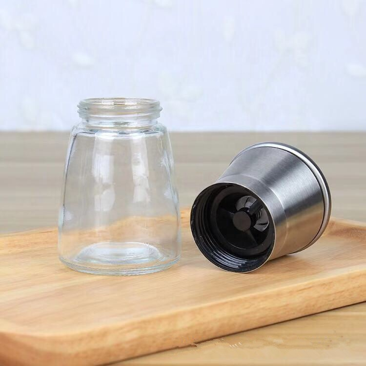Plastic Adjustable ceramic core salt pepper mills dry spice grinders wholesale with glass spice bottle