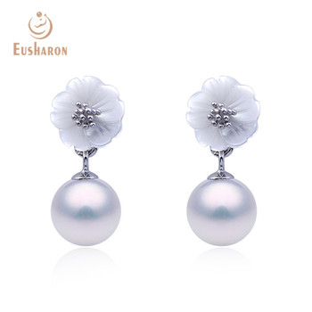 Korean Styles Women Spring Shell Flower 925 Sterling Silver Pearl Drop Earrings For Girl