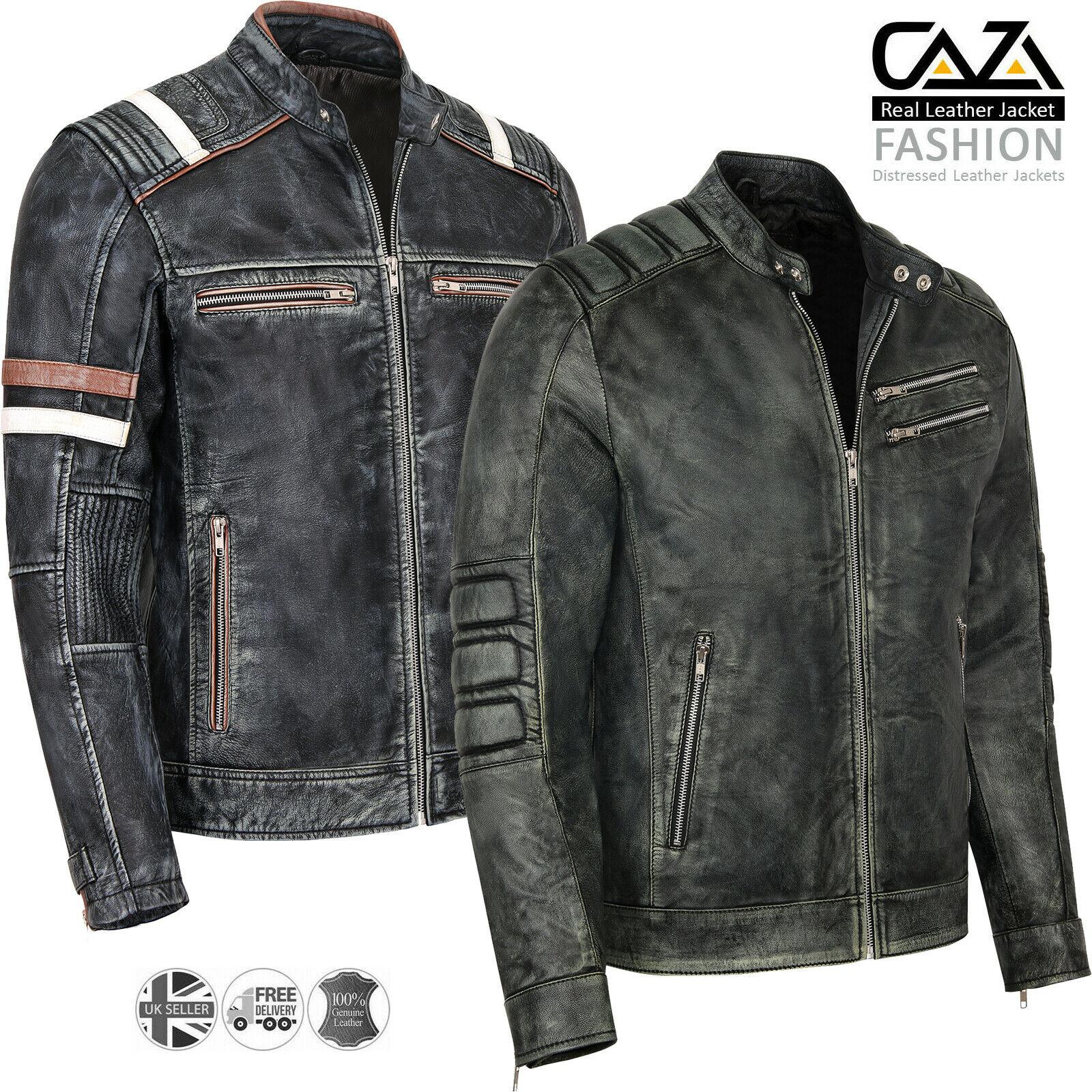Mens Motorcycle Leather Jacket Mens Vintage Distressed Black Biker Style Real Leather Jacket