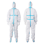 Clothing SMS EN14126 Hooded Type 4/5/6 Disposable Coveralls Safety Clothing Hazmat Suit