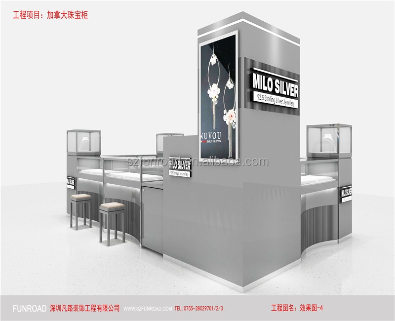Luxury design glass and wooden jewelry display kiosk showcase with display stand