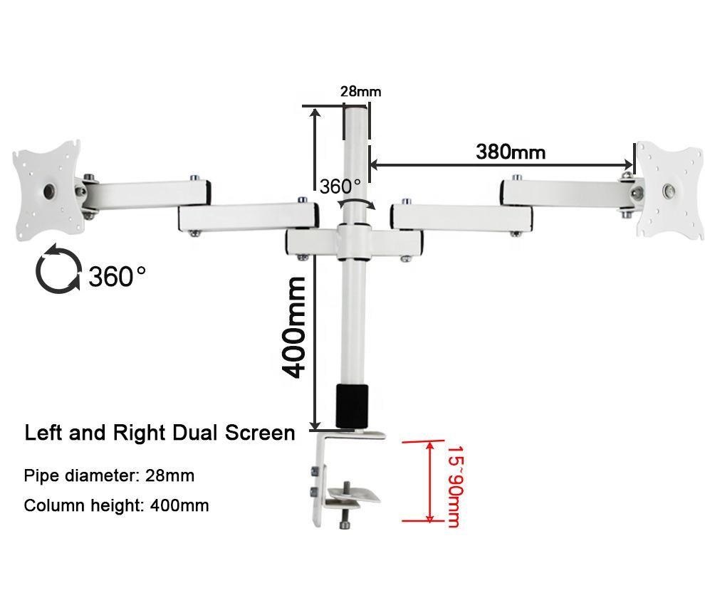 China Bulk Sale Clamp Desk Mount White Dual Monitor Arm