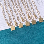 Jewelry Personalized Custom Alphabet Letter 18K Gold Pendant Chain Jewelry Necklace Set With Initial For Women