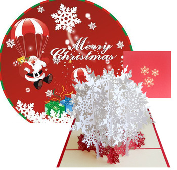 Ywbeyond christmas gift decoration Christmas Snowflakes 3D Pop Up Greeting Cards With Envelope Laser Cut Post Card