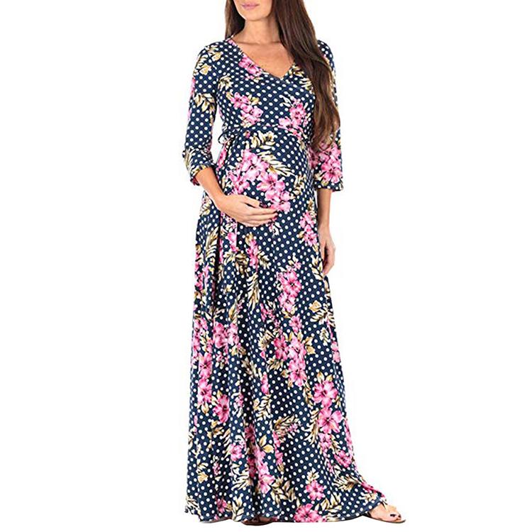 Новинка, свободное Удобное Мягкое платье Lover Beauty с глубоким V-образным вырезом и поясом на талии, укороченные рукава, Одежда для беременных, женское длинное платье для беременных