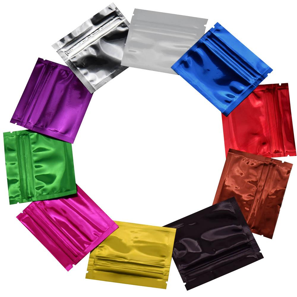 200pcs/lot Small Colorful Resealable Glossy Aluminum Foil Zip Lock Packing Bag Coffee Powder Candy Packag Zipper Mylar Bags