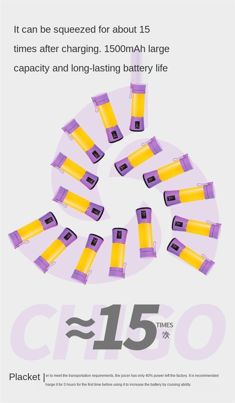 Personal Portatil Use Mini Home USB 4 blades Juicer Rechargeable Fruit Juice Blender juicer extractor