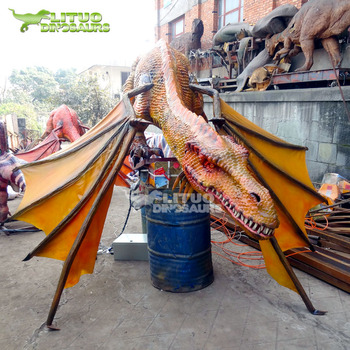 Outdoor Decoration Attractive Life Size Animatronic Silicon Dragon