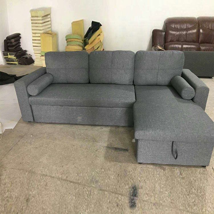 Modern good quality comfortable Chesterfield fabric l shaped reclining sofa stretching sofa bed gray