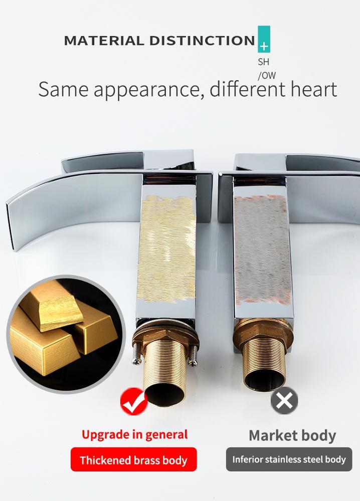 Luxury home high quality brass bathroom waterfall basin faucet