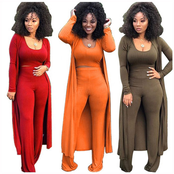 Hot Woman Clothes 2021 Trending Ribbed Crop Top 3 Piece Set Plus Size Jumpsuit Fall Spring Outfit Women Clothing