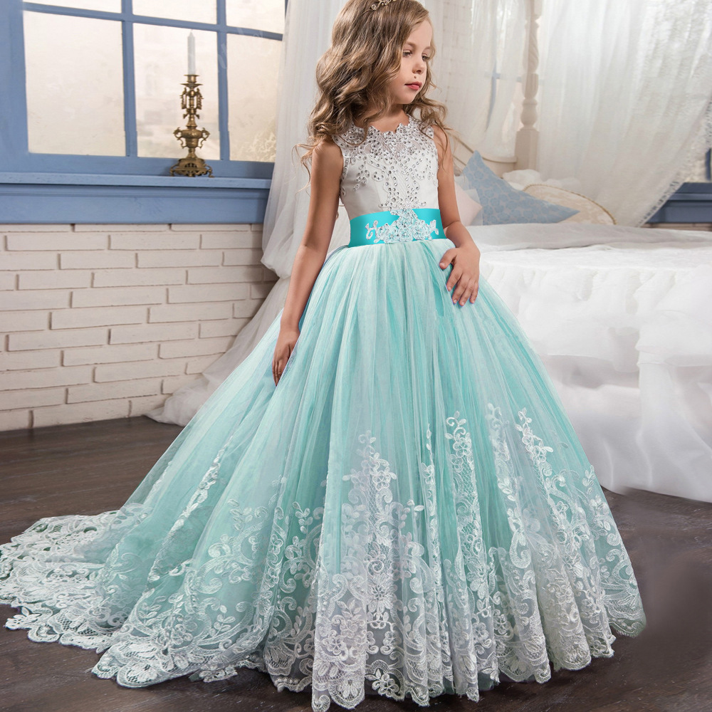 Long Plain White Kid Girl Ball Gown Evening Party Dress For Kid ...