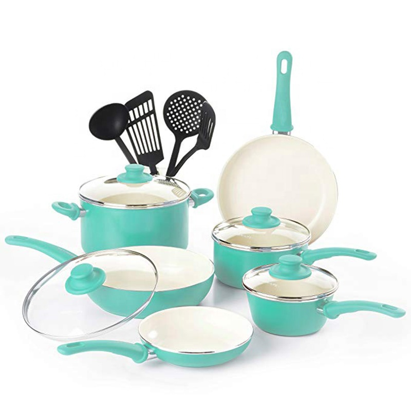 14 pcs High quality ceramic coating cookware set aluminium non stick dessini cookware panci set with induction bottom
