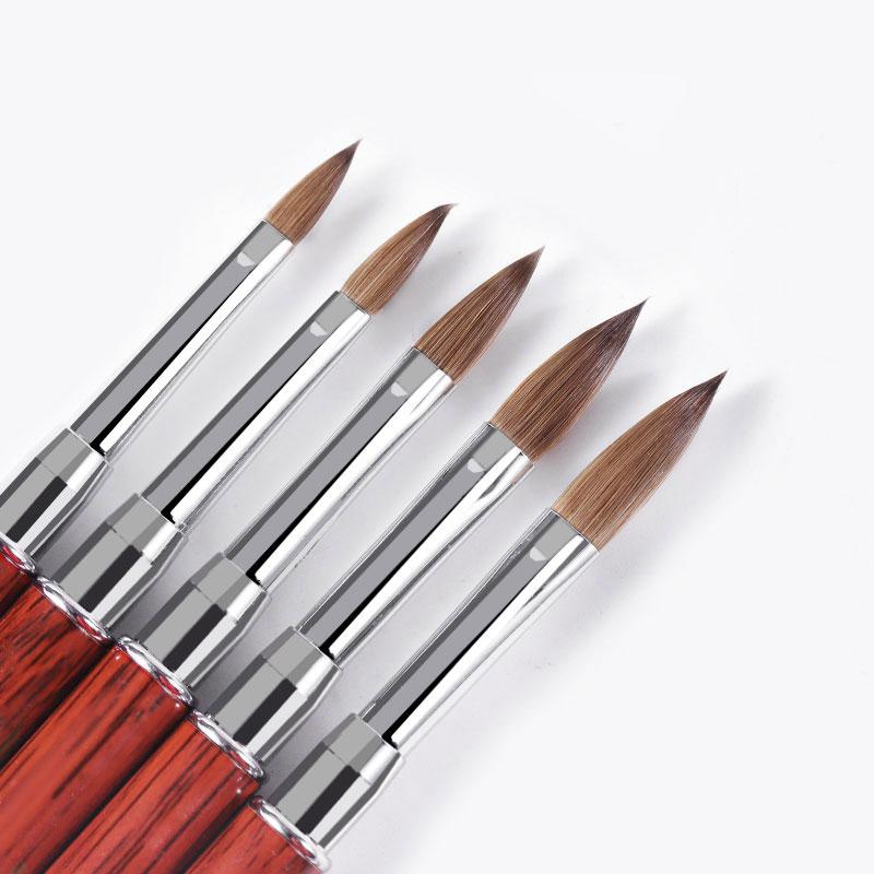 Salon De Manucure 100% kolinsky Sable Acrylique Nail Art Brosse Serti UV Gel Constructeur Brosse Plat Rond Rouge Bois Brosses Pour Les ongles