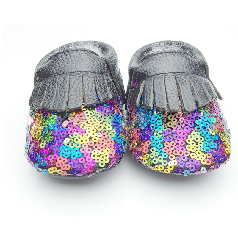 Wholesale children private label sequin tassel baby walker shoes