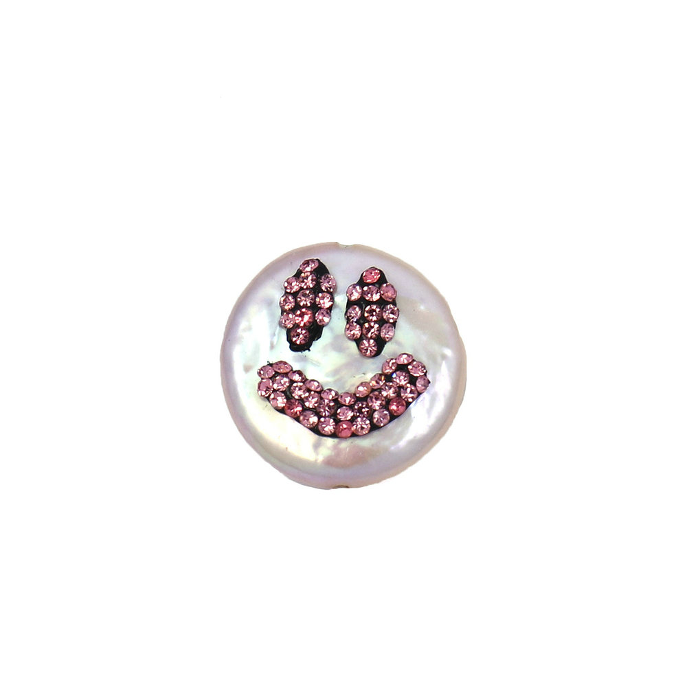 Happy Face Baroque Pearl Pendant Necklace Bracelets Handcrafted Charm with Ruby Rhinestone