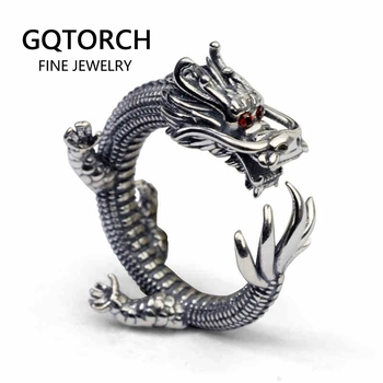 Real Solid 925 Silver Dragon Rings Vintage Men's Open Size Adjustable Thai Silver Rings Men Accessories Jewelry